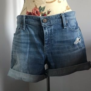 Slightly distressed denim shorts